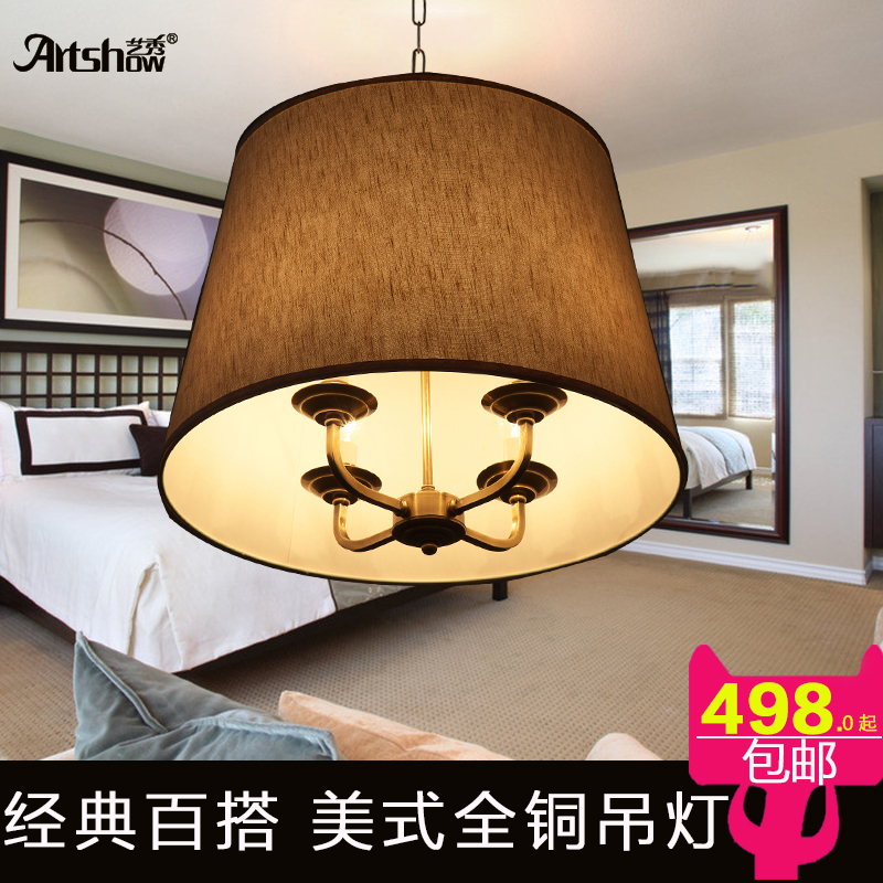 Yi xiu full copper chandeliers american country european minimalist living room bedroom linen cloth dining room den circular lamps