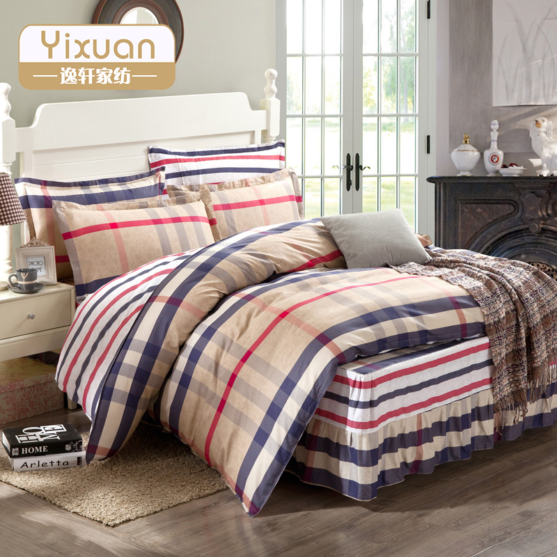 Yi xuan textile cotton twill printed bed skirt section striped plaid cotton bedding a family of four 4 kit