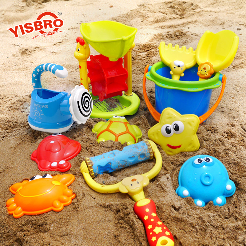 Yi zhi bao children baby shower swimming beach toys suit large hourglass shovel son playing with sand dredging tool barrel