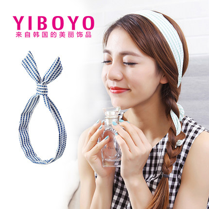Yiboyo korea headdress sell meng artifact sweet brimmed striped rabbit ears elastic hair band cute silk yarn