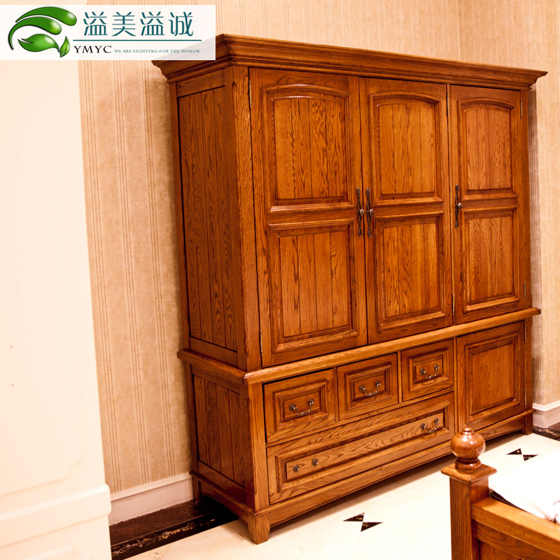 Yimei powertransfer town american country of pure solid wood wardrobe closet wardrobe closet four cheese green of the kingdom of american white oak