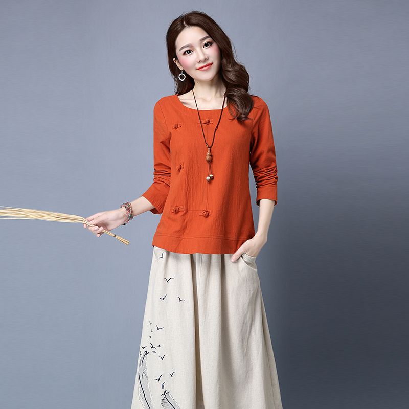 Yin plus 2016 hitz korean women slim temperament long sleeve shirt cotton skirts female piece