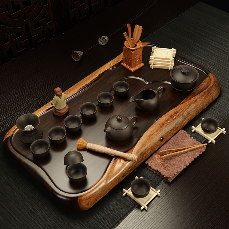 Ying xin yixing ceramic package of kung fu tea set piece of ebony wood tea tray tea sets teapot tureen entire