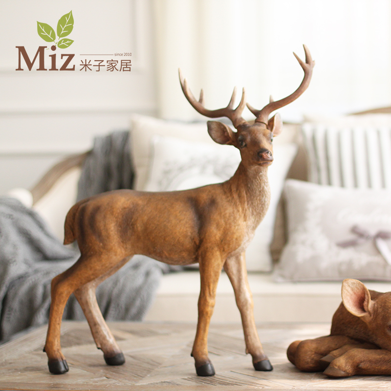 Yonago home american country living room study of creative green resin christmas decoration exupéry forest deer stand