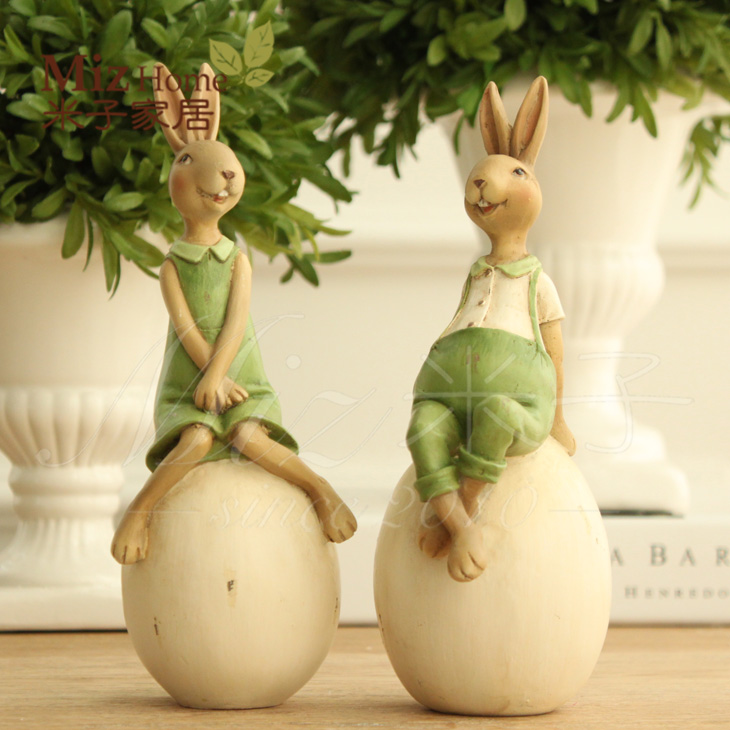 Yonago home living room creative cute cartoon rabbit resin ornaments sit pantanal rabbit eggs individual