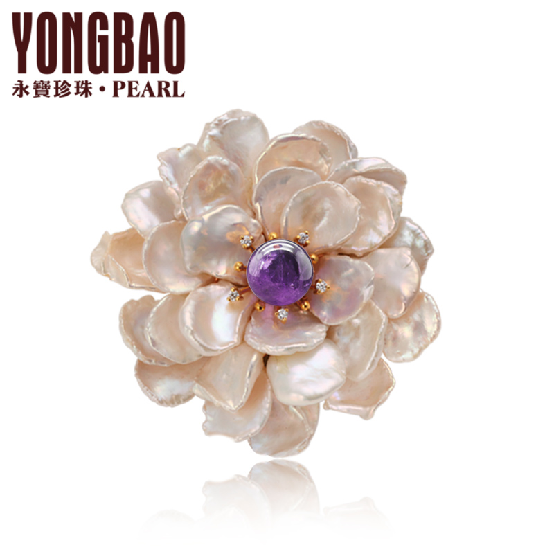 Yong bao pearl freshwater pearl too difficult shaped brooch brooch k gold women's fashion wild natural genuine