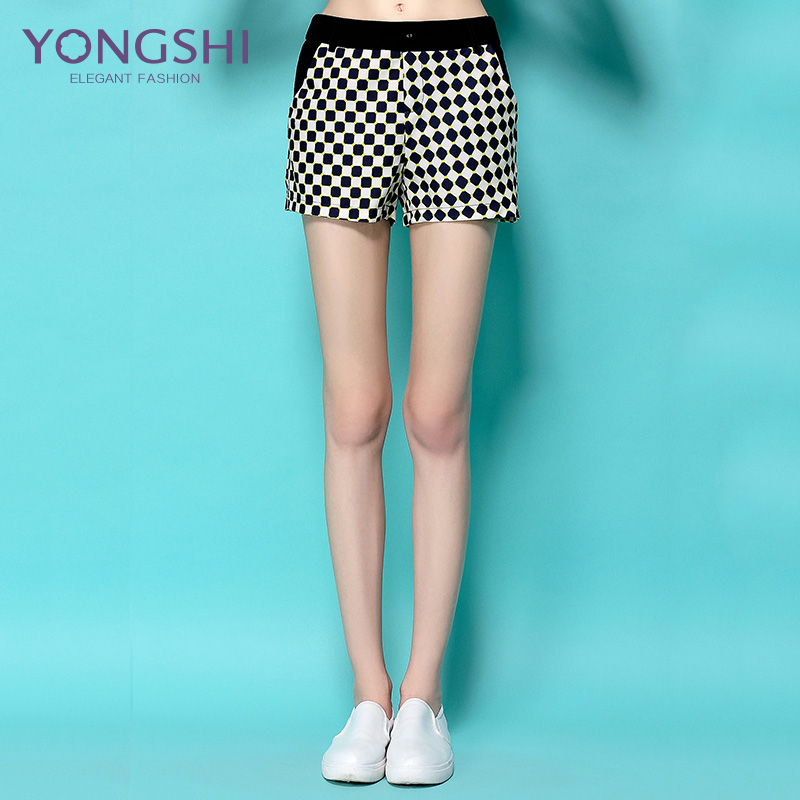 Yong shi 2016 summer new korean women's fashion wild dark blue plaid shorts waist wide leg pants casual pants shorts