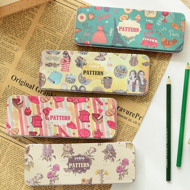 Yoofun/gifted where retro series star stationery tin pencil box pencil cute student capacity
