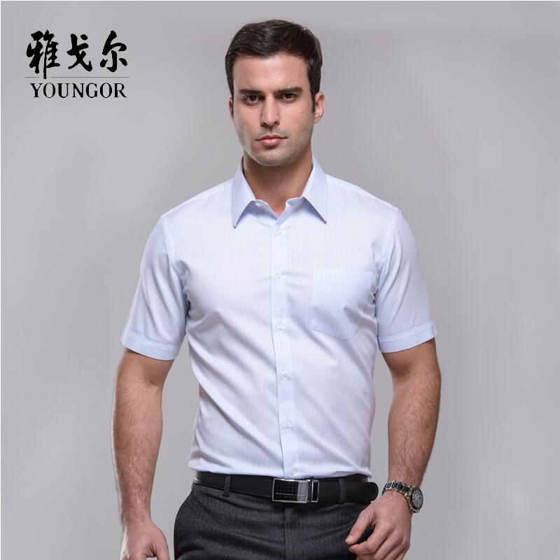 dec48fea68b Get Quotations · Youngor younger counter genuine men s cotton striped short  sleeve shirt iron SDP12059HBA