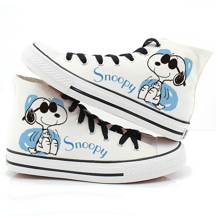 Yovca korean shoes painted shoes high canvas shoes to help women's shoes cloth shoes snoopy couple shoes tide shoes casual shoes