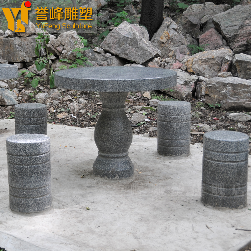 [Yu feng sculpture] black and white dots archaized danzhuoshideng danzhuoshideng outdoor garden stone table stone bench stone natural stone