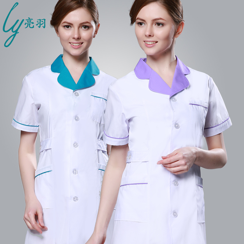 Yu liang white coat short sleeve summer clothes doctor nurse dentist pharmacy pharmacy lab coat uniforms