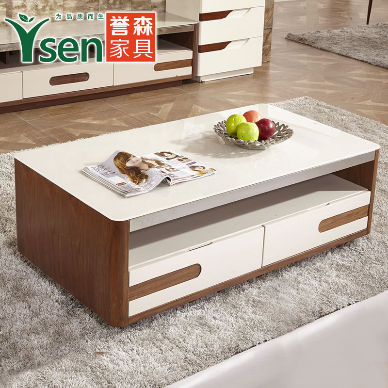 Yu sen modern minimalist fashion living room coffee table glass coffee table tv cabinet tv cabinet combination paint chazhuo 5001