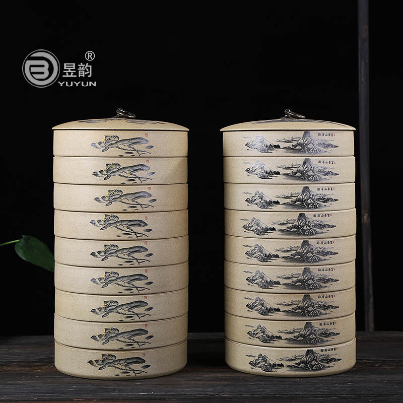 Yu yun taiwan old rock mud pot pu'er heavy landing more into coarse pottery tea accessories tea caddy ceramic pot wake chaguan