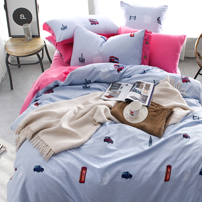 Yu zhaolin textile personality simple fashion cotton denim cotton bedding a family of four suite