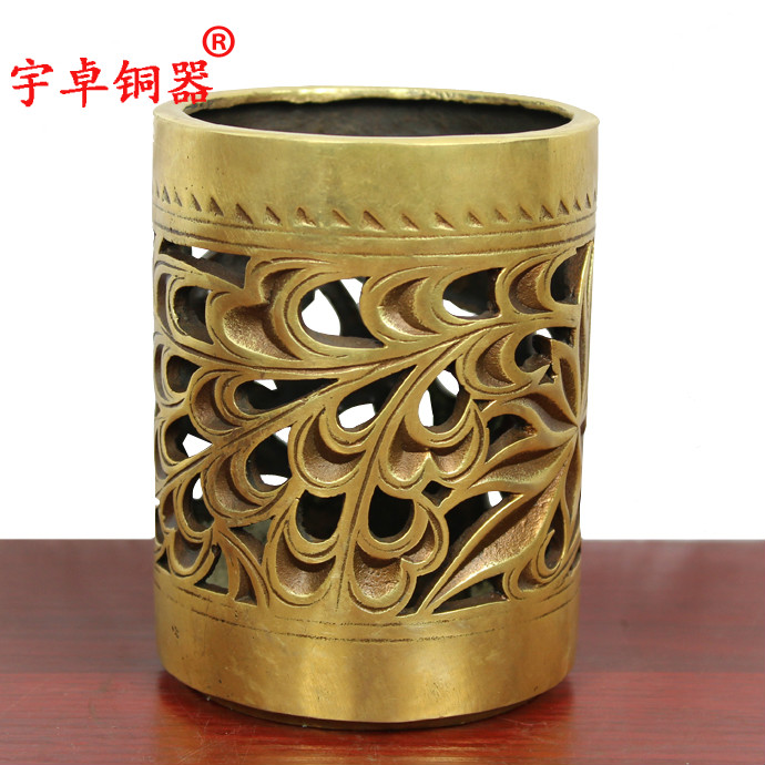 Yu zhuo brassware copper hollow pen crafts ornaments lucky to help academic meaning extra cash