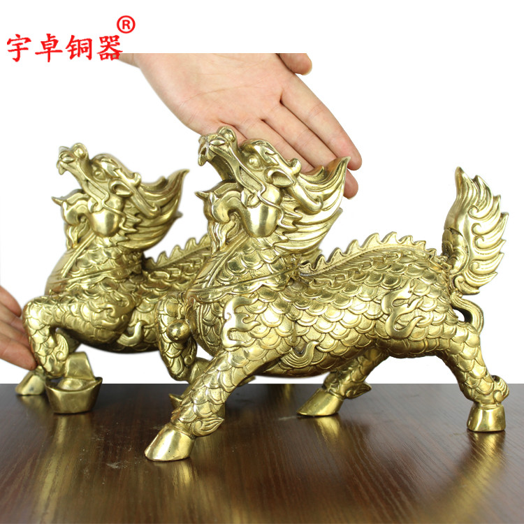 Yu zhuo brassware copper unicorn unicorn one pair of copper foot ingot lucky ornaments home office