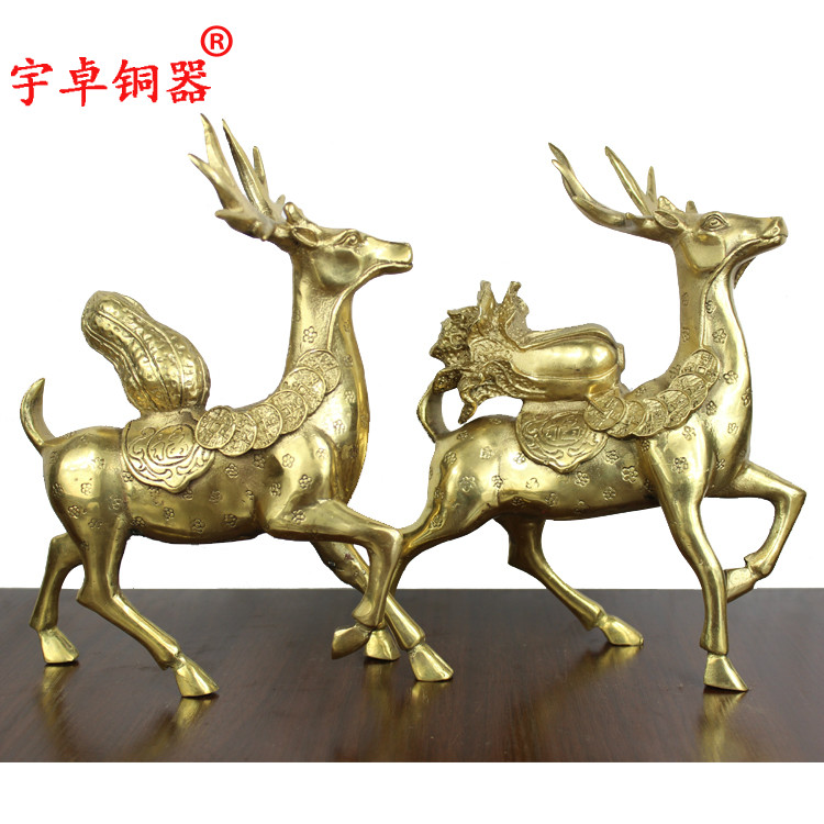 Yu zhuo brassware pack peanut cabbage sika deer sika deer deer pure copper copper copper ornaments crafts