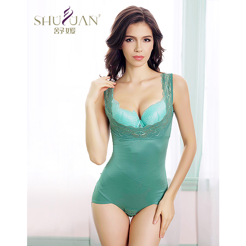 Yuan shu genuine spring and summer thin breathable abdomen siamese girly breast care slimming corset corset body