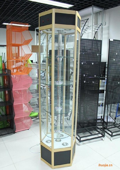 Yue hao rotary rotating hexagonal cabinet display cabinet showcase showcase showcase showcase boutique shelves