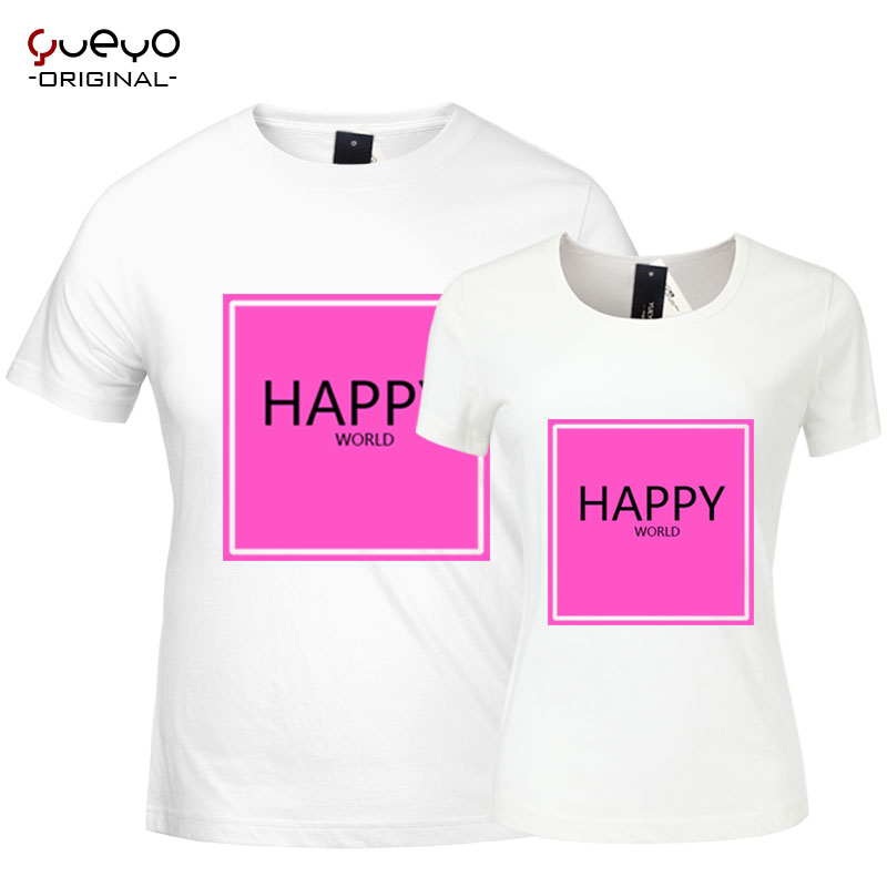 Yueyo/wyatt tour summer male and female lovers happy happy camp with paragraph bridesmaid dress short sleeve t-shirt