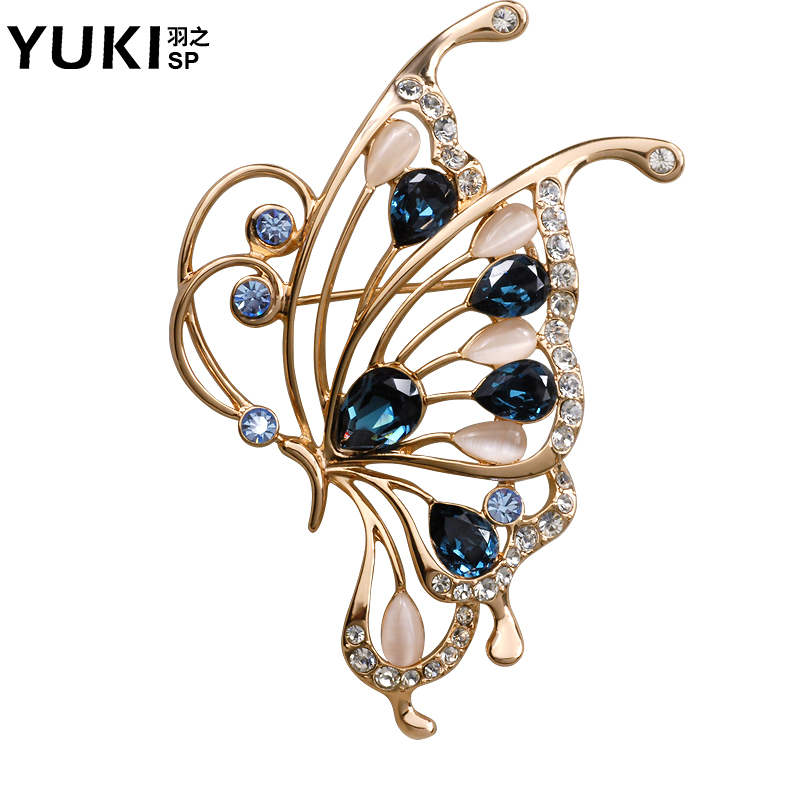 Yuki brooch female temperament butterfly scarf scarf buckle brooch crystal brooch korean sweater male to send valentine gifts