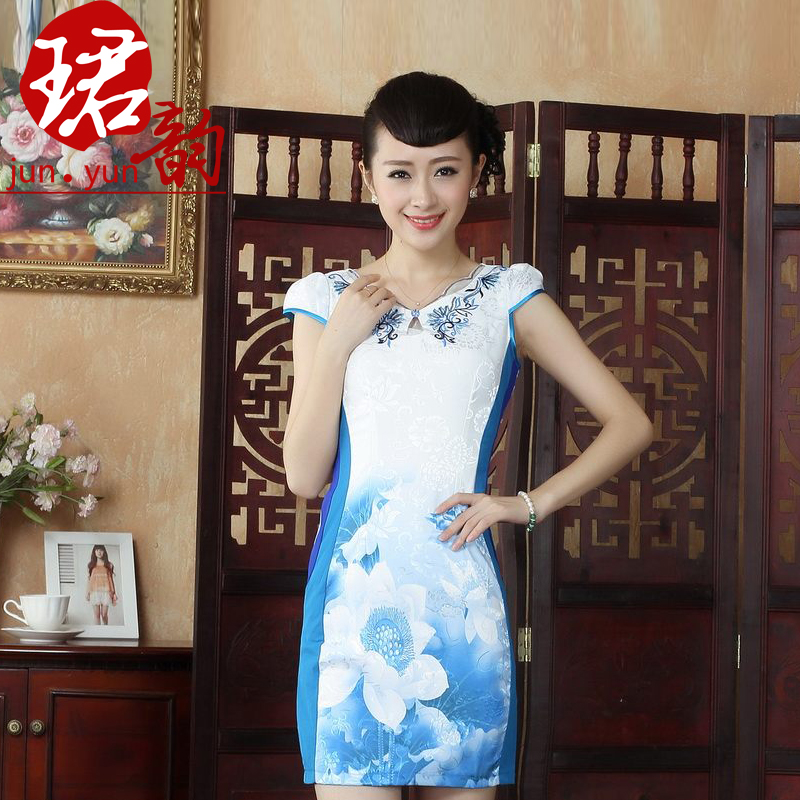 çºyun 2014 summer influx of new female low collar slim improved cheongsam fashion improved short repair body qipaos sleeve lotus map