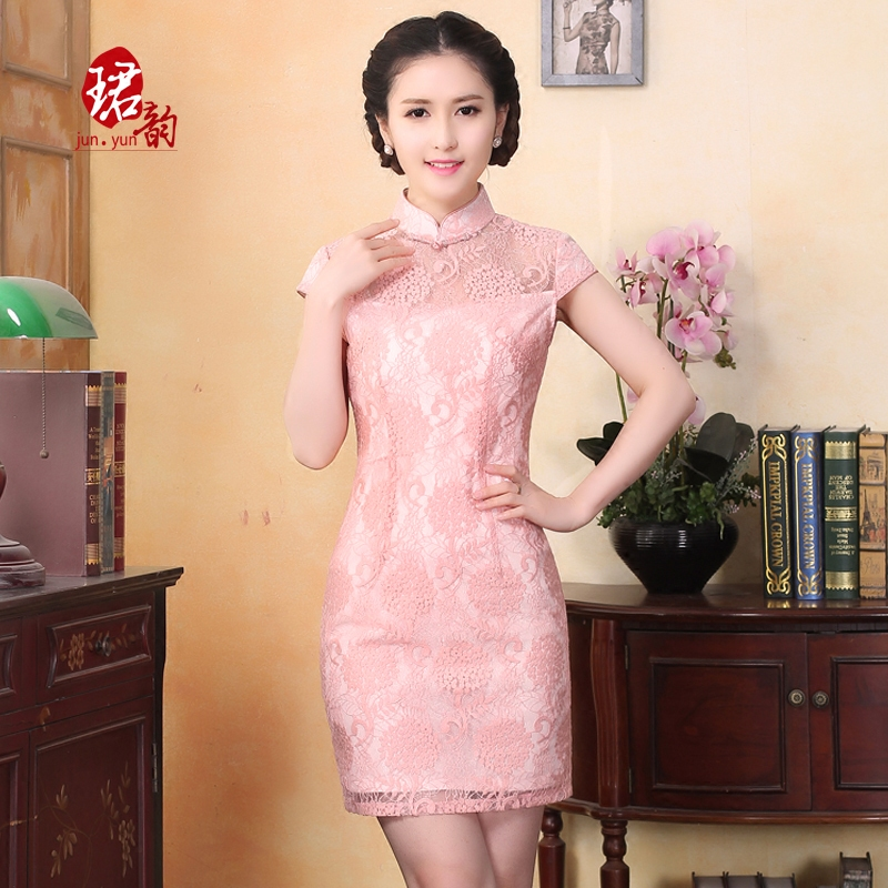 çºyun improved cheongsam dress summer 2016 new lace wedding dress slim annual meeting banquet party in qipaos