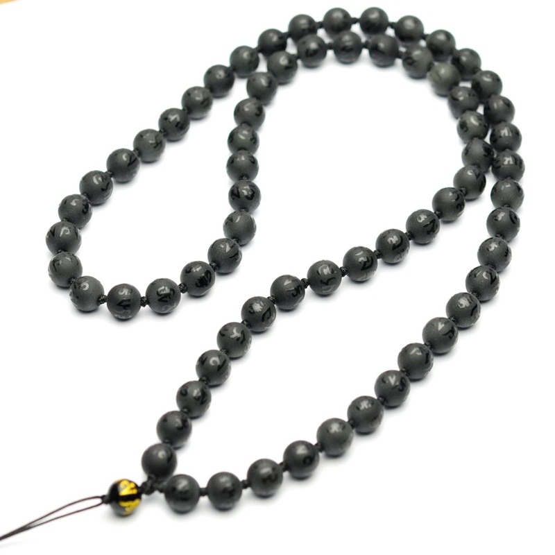 Yun xi matte natural obsidian mantra prayer beads chain necklace pendant necklace rope lanyard men