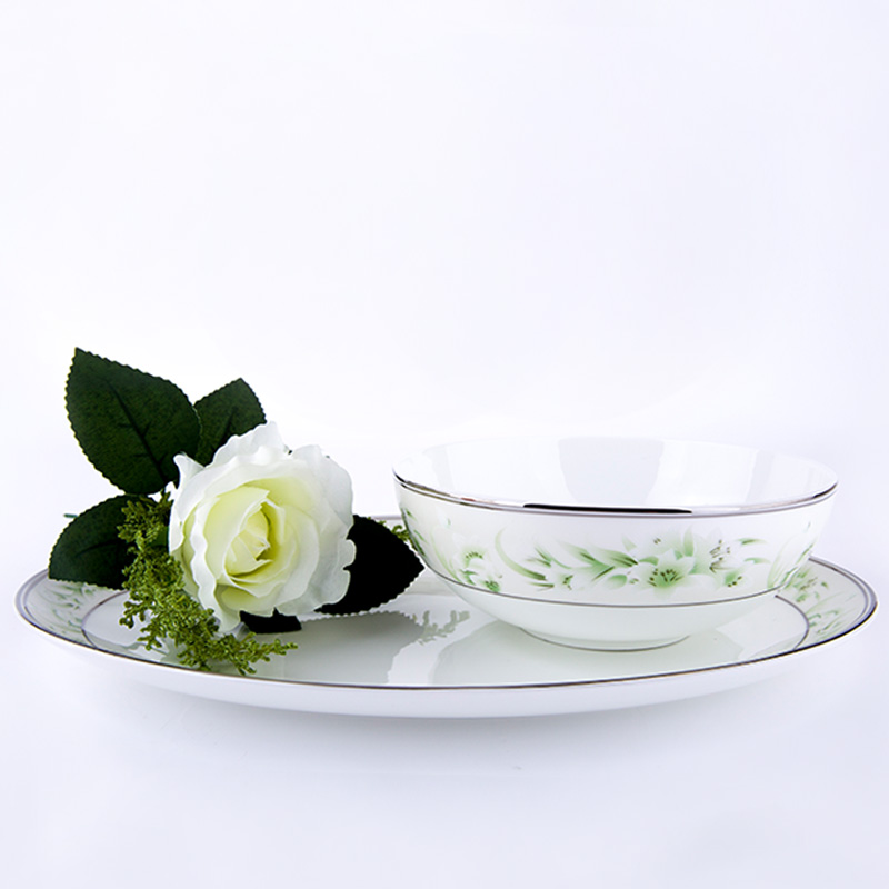 [Yuquan] lily chinese ceramic bone china crockery dish bowl soup bowl tableware piece suit