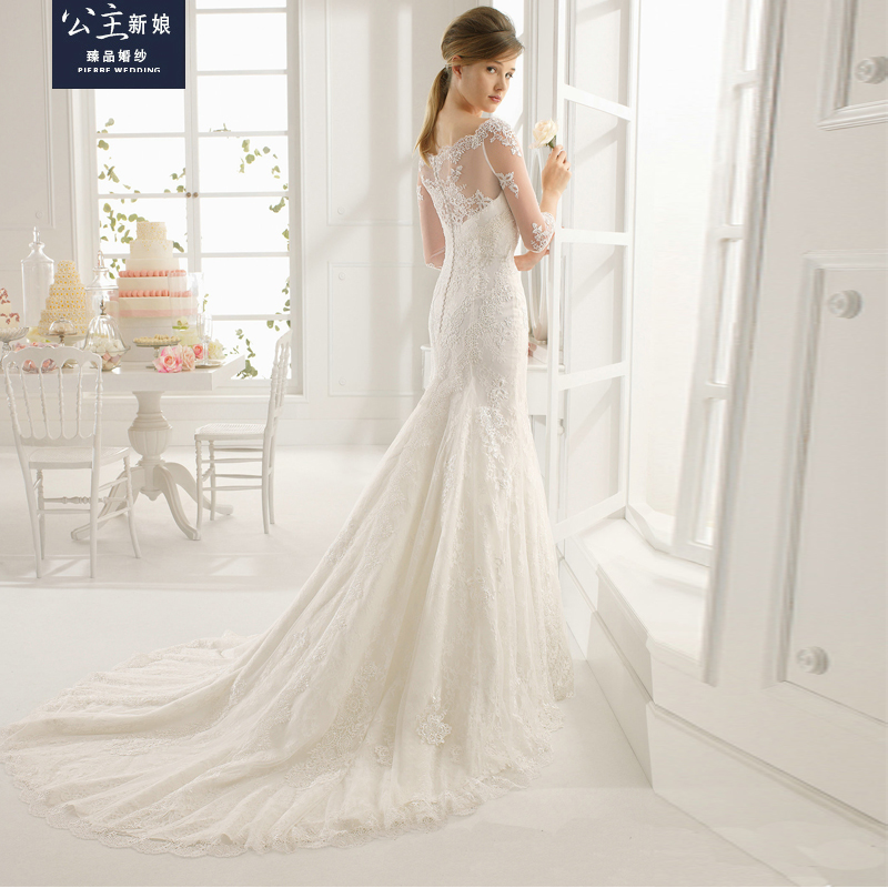 Yushoukuan princess bride word shoulder fishtail wedding dress wedding dress 2016 new sleeve water soluble lace wedding dress trailing