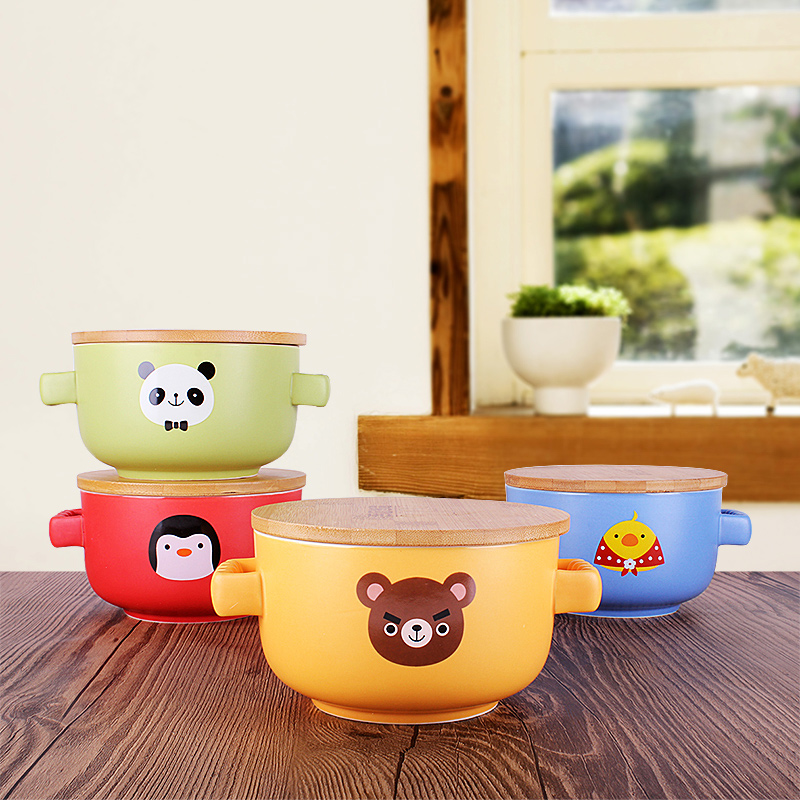 Yuu home ichiban leisurely home four treasures ears large bowl of instant noodles cup with lid ceramic mug cup creative cup