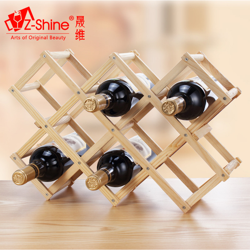 Z-shine sheng dimentional ornaments creative folding wood wine rack wine rack wooden wine rack wine rack shelf living room shelf appliances