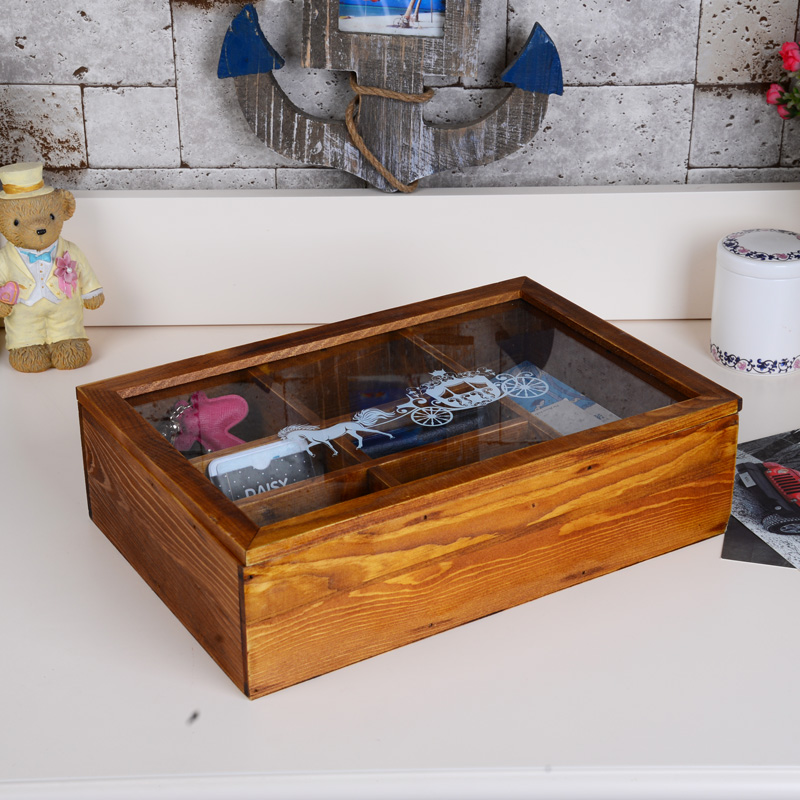Zakka retro wood glass wooden desktop storage box finishing cosmetic box next letter piece documents debris box