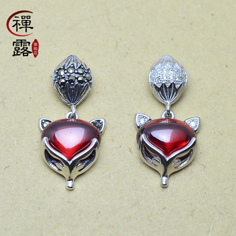 Zen lu 925 silver sterling silver sterling silver red corundum thai silver pendant necklace bracelet pendant diy accessories pendant small fox