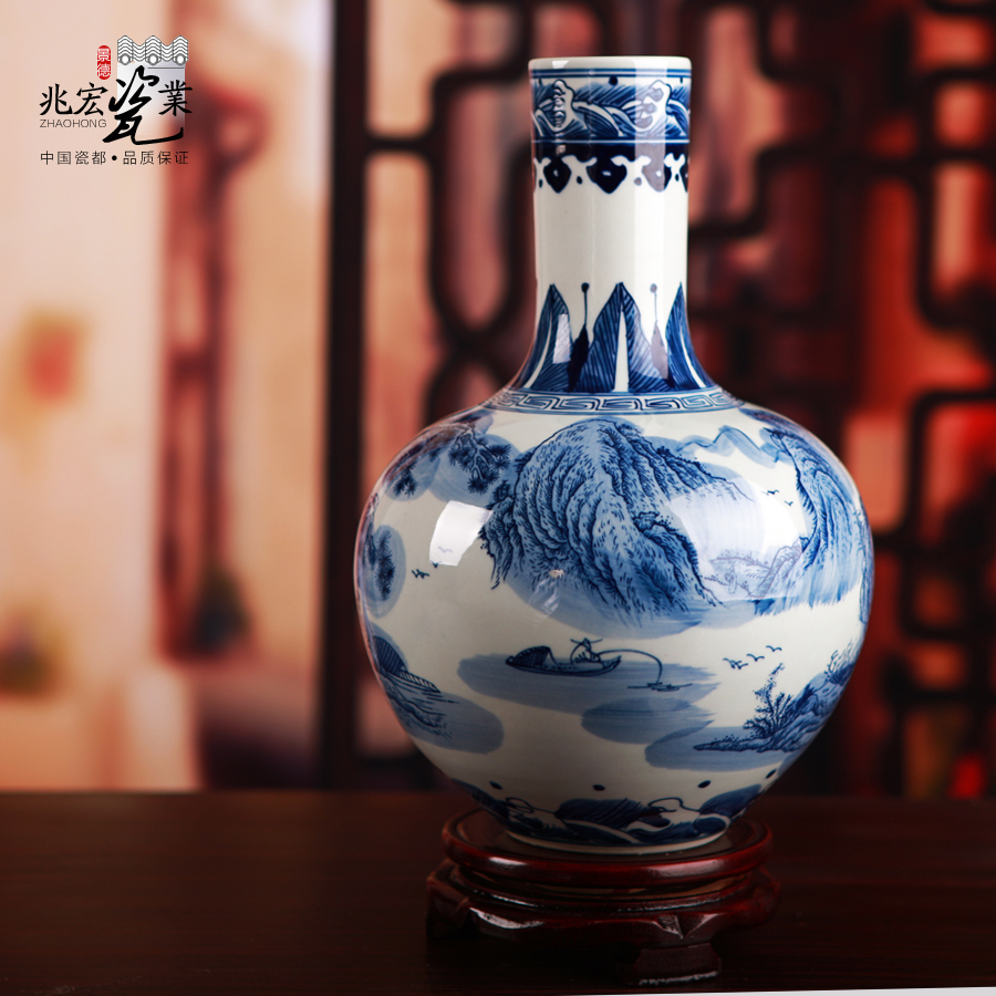 Zhaohong jingdezhen classic blue and white landscape design upscale gift porcelain ceramic vase ornaments decorations gifts