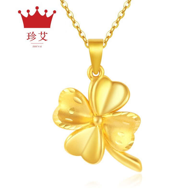 Zhen ai ms.足金3d hard gold pendant gold pendant lucky clover gold-plated pendant to send silver chain