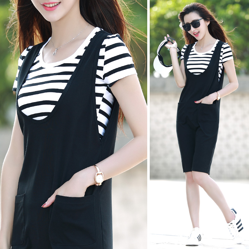 Zhen of harness dress casual black and white striped suit female 2016 summer new long section piece ladieswear