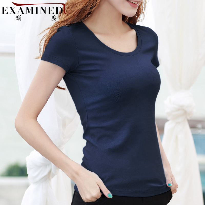 Zhen of sleeve female t-shirt solid color cotton round neck short sleeve t-shirt slim female white shirt bottoming large size t-shirt summer