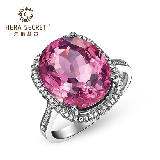 Zhu诺赫拉pink diamond ring female 12.5 karat diamond oval oval surrounded by luxury high simulation gem in europe and america