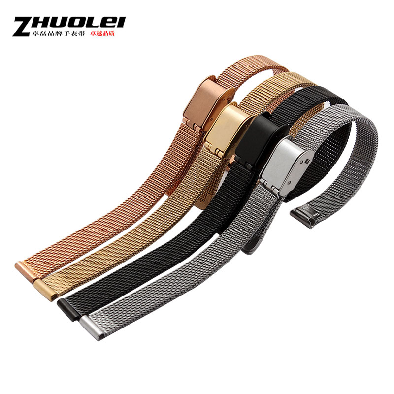Zhuo lei leather strap alternative trumpet small poly lee watches ladies bracelet 8mm solid mesh belt