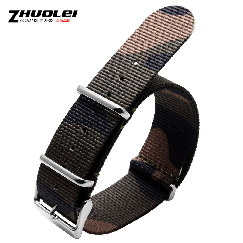 Zhuo lei leather strap camouflage nylon watch band adapter luminox watch band 24mm lengthened with men and women