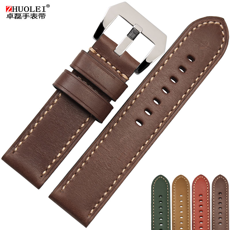 Zhuo lei leather strap replacement citizen hamilton handmade leather belt male mechanical watch parts 22mm