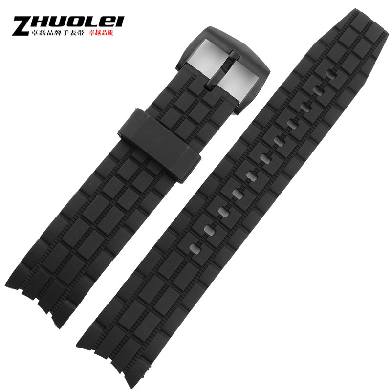 Zhuo lei leather strap watch with silicone strap adapter casio EF-523 black rubber bracelet watch accessories