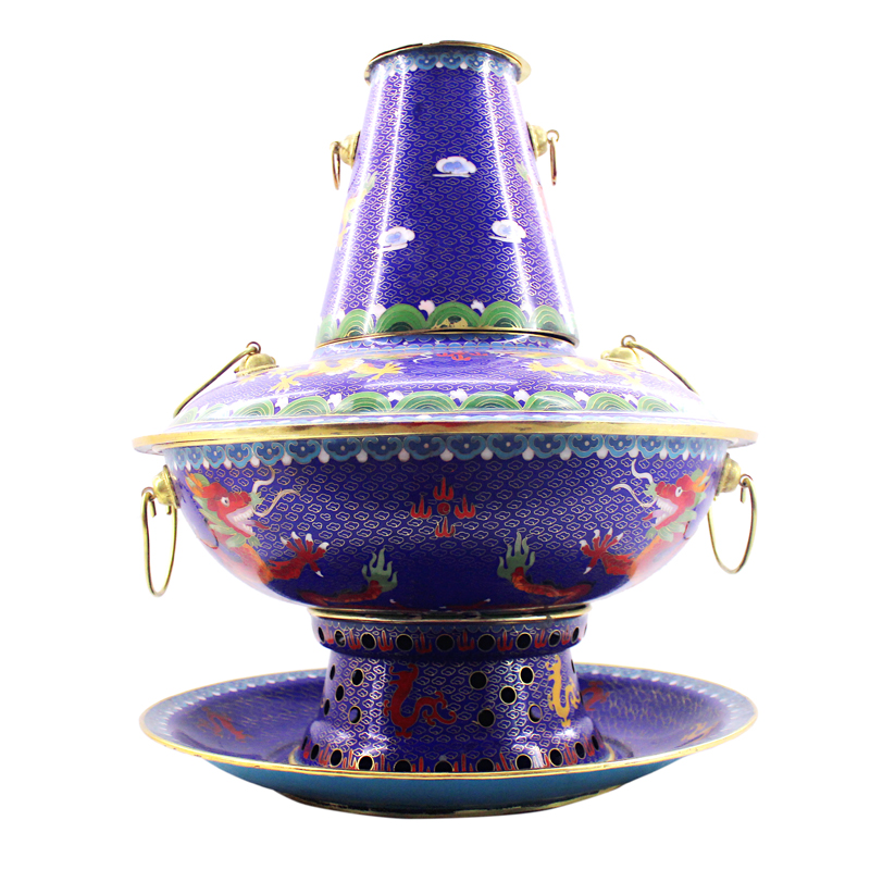 Zi xin cloisonn finishing dragons dedicated duck pot copper pot charcoal fire boiler household shabu hot pot