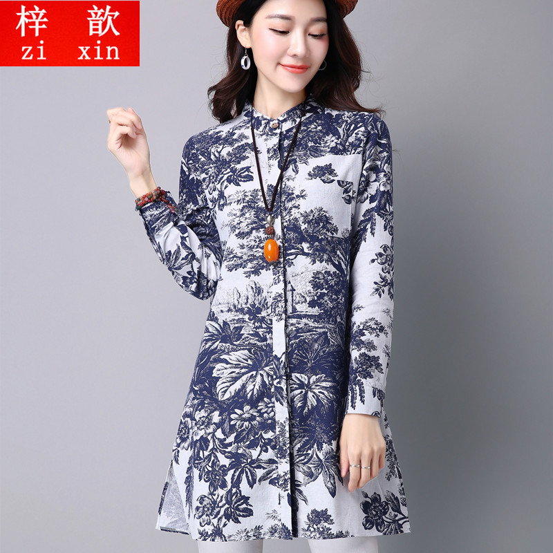 Zi xin spring and autumn long sleeve shirt national wind retro floral printed cotton collar loose shirt girls long section