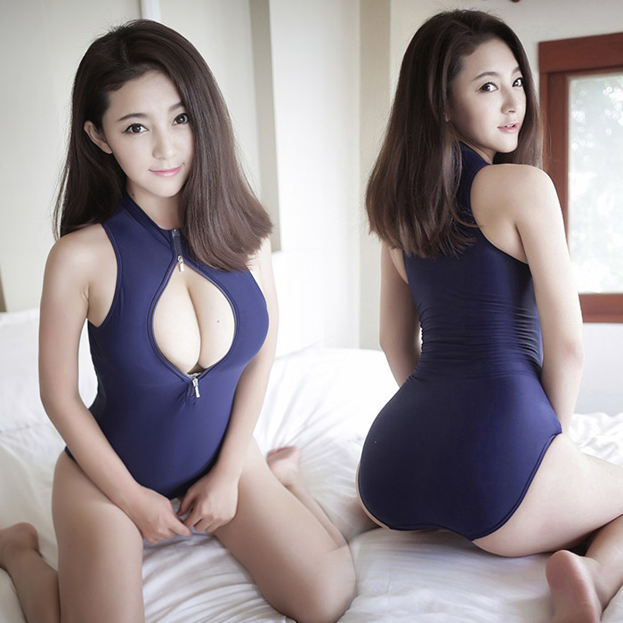 Zippered luxiong tight leotard sexy lingerie suit uniforms contains adult perspective real woman show