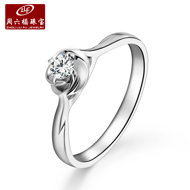Zlf/saturday fook jewelry k gold diamond ring female models simple single diamond ring marry heart of love series