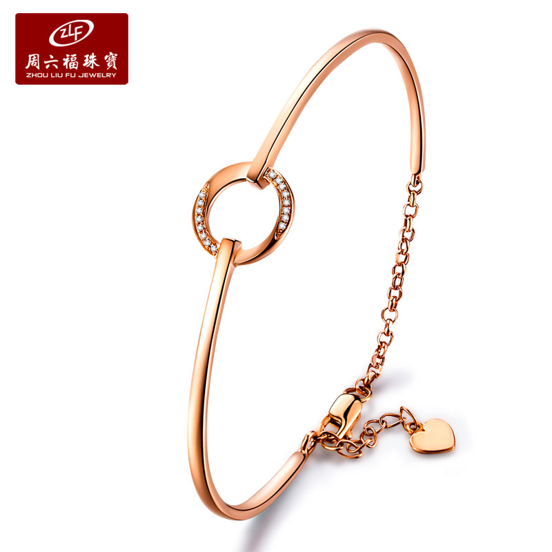Zlf/saturday fook k gold diamond bracelet female models rose gold bracelet korean fashion jewelry chain bracelet