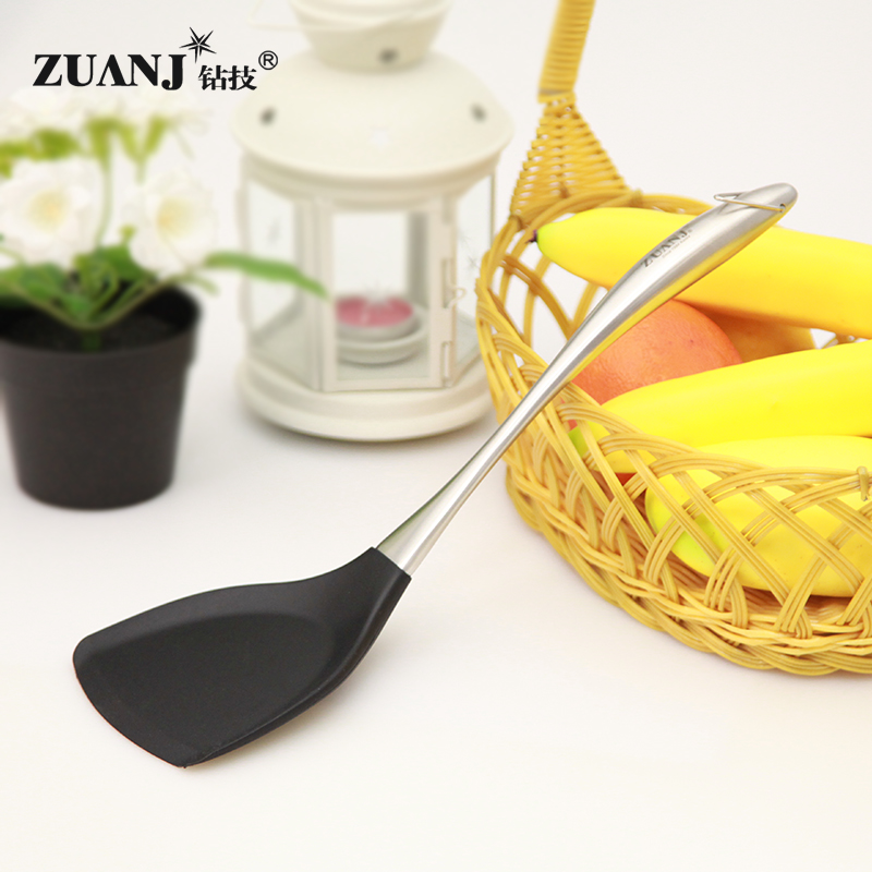 Zuanj drilling technology nonstick high temperature resistant silicone spatula silicone spatula stainless steel shovel shovel shovel skillet cooking spatula